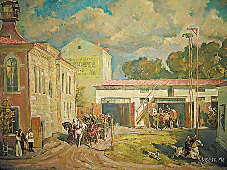 Пожарная команда возле управы Луганск 1920-25 г.(2).
